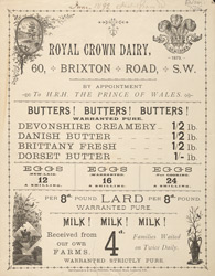 Advert for the Royal Crown Dairy